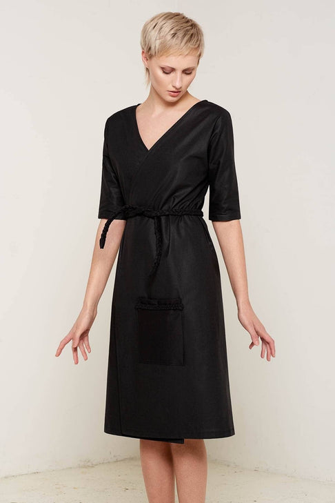 Antonia Wrap Dress (Black) by Bo Carter - Jewel and Lotus