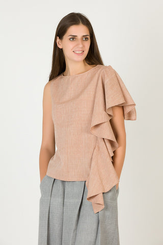 Beige Party Top | Organic Cotton Women's Top by Brown Boy - Jewel and Lotus