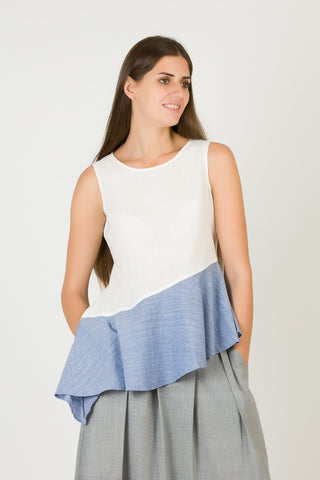 White Sleeveless Top With Blue Frill | Summer Frill Top For Women