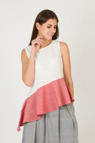 White Sleeveless Top with Peach Frill | Summer Frill Top For Women