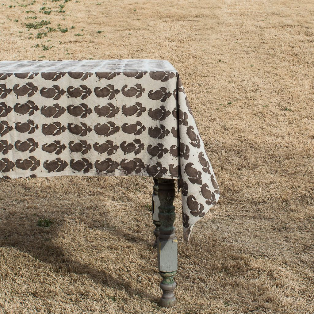 Rustic Natural Dyed Brown Paisley Tablecloth By Shree Roopam   Jewel And  Lotus