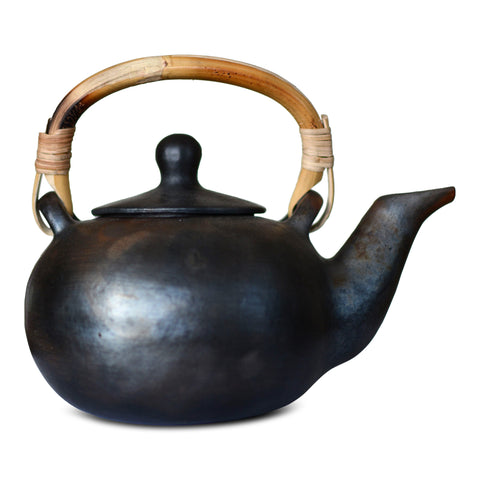 "Artisan Handmade Black Clay Large Teapot – ""Sarah"" by Terra Klay - Jewel and Lotus"