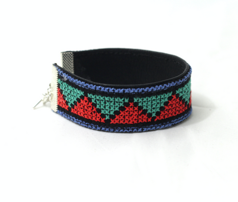 Shereen embroidered leather bracelet