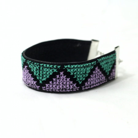 Rasha embroidered leather bracelet