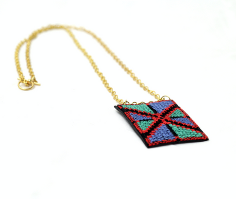 Abeer Embroidered Leather Necklace by Darzah - Jewel and Lotus