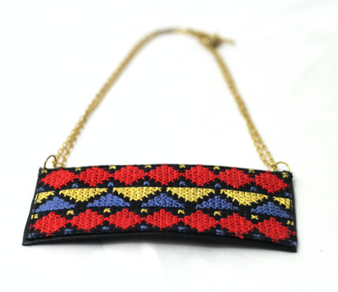 Ansam Embroidered Leather Necklace by Darzah - Jewel and Lotus