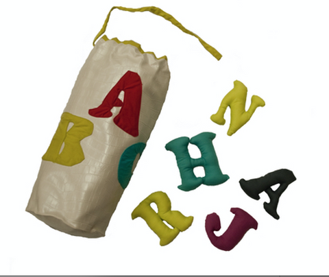 English plush alphabet bag (white) by Child's Cup Full - Jewel and Lotus