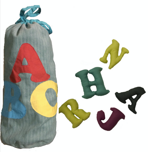 English plush alphabet bag (blue) by Child's Cup Full - Jewel and Lotus