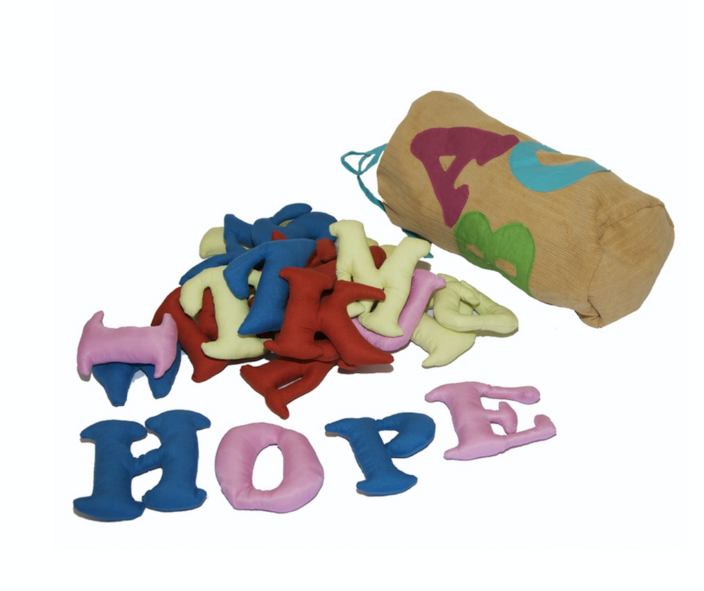 English plush alphabet bag (beige) by Child's Cup Full - Jewel and Lotus