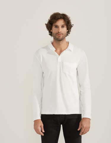 White Long Sleeve Pocket Polo by HOPE Made in the World - Jewel and Lotus