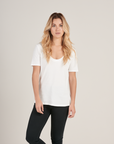 White Organic Cotton Scoop Neck Tee by HOPE Made in the World - Jewel and Lotus