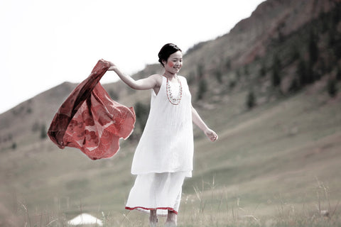 White-Red Mina Long Summer Dress