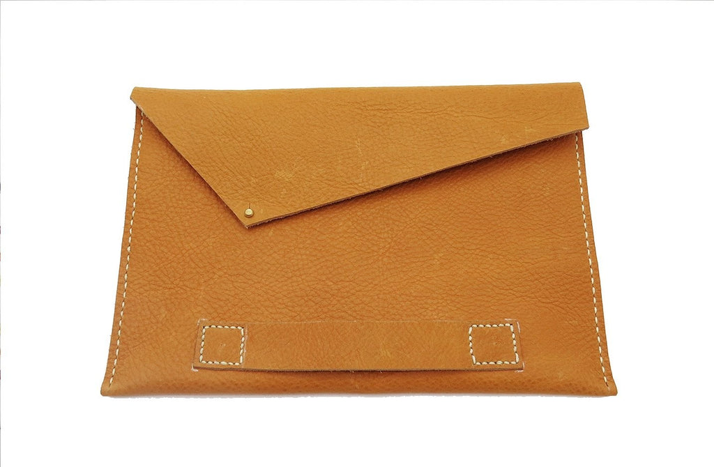 Angular Hand Stitched Clutch In Tan by Matsidiso - Jewel and Lotus