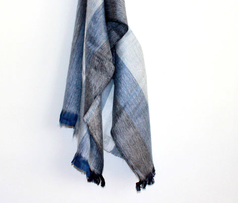 BLUISH GRAY SCARF by SHICATO - Jewel and Lotus