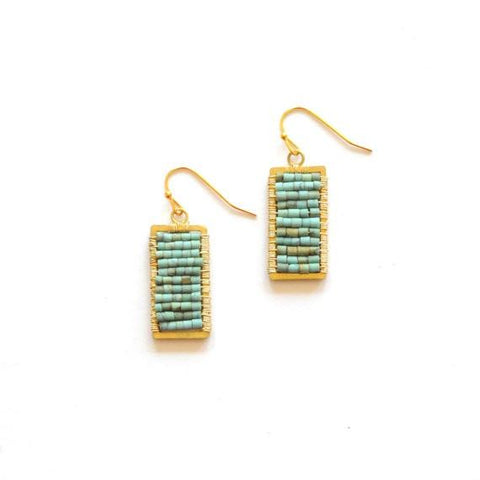 Turquoise Rectangle Earrings by The Didi Jewelry Project - Jewel and Lotus