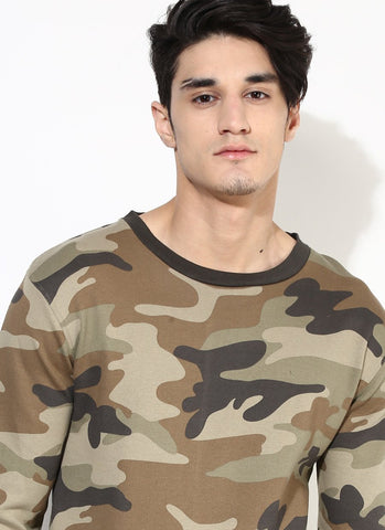 Organic Cotton Military Print Sweatshirt