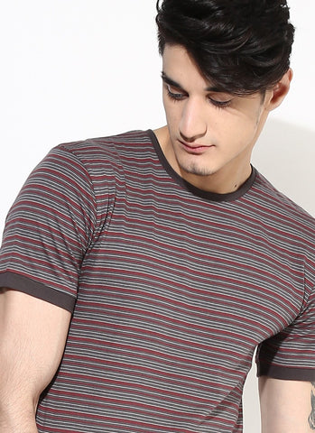 Men's Organic Cotton Grey and Maroon Stripe T-Shirt - Brown Boy India - Men's Organic Cotton T-Shirt - 4