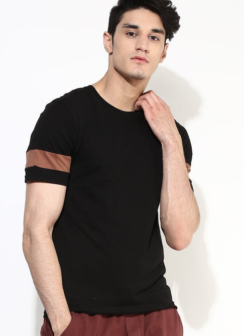 Men's Organic Cotton Black T-Shirt with Brown Sleeves - Brown Boy India - Men's Organic Cotton T-Shirt - 1