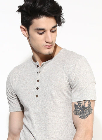 Men's Organic Cotton Melange Henley with Wood Buttons - Brown Boy India - Men's Organic Cotton T-Shirt - 1