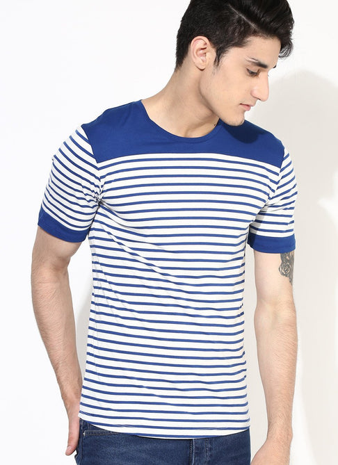 Blue Stripes Sustainable T-Shirt by Brown Boy - Jewel and Lotus