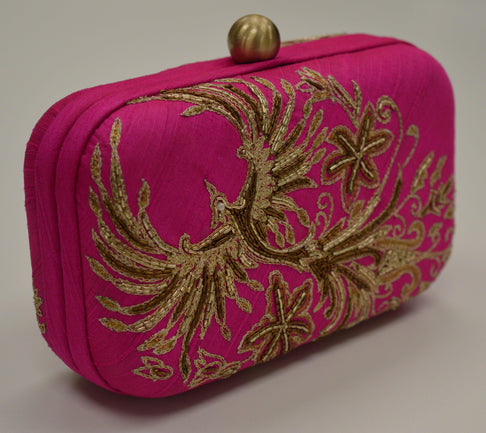 The Phoenix – Artisan handmade clutch bag – Pink by Shriyani - Jewel and Lotus