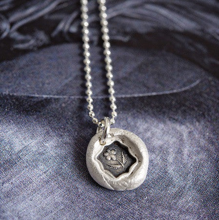 Forget-me-not Wax Seal Necklace