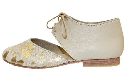 Amahle Mary-Jane In Metallic Gold Cowhide / Latte by Matsidiso - Jewel and Lotus