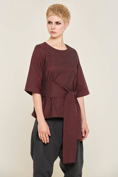 Alvina Top (Burgundy) by Bo Carter - Jewel and Lotus