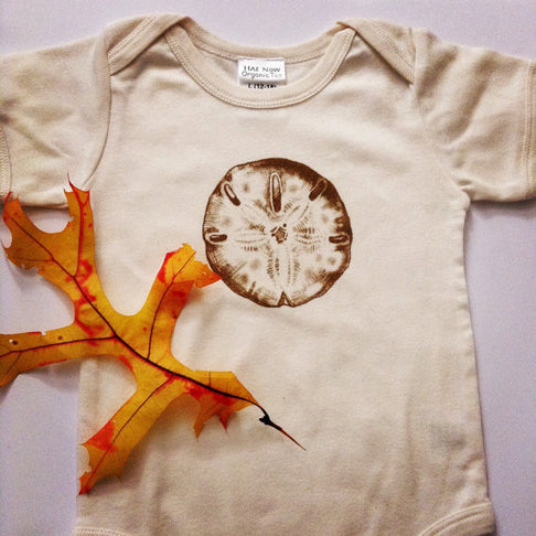 ORGANIC BABY ONESIE, FAIR TRADE, SAND DOLLAR by Ethical Infant - Jewel and Lotus