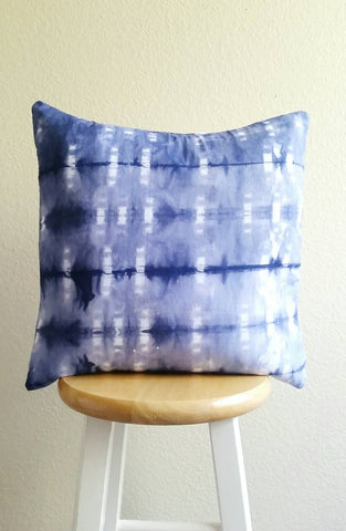 Hand dyed cushion, Shibori pillow, blue and white cushion, hand dyed pillow, shibori cushion, 18 x 18 inch pillow cover, Blue cushion cover