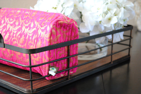 Be Bold Handmade Pink + Gold Cosmetic Beauty Bag by Made With a Purpose - Jewel and Lotus
