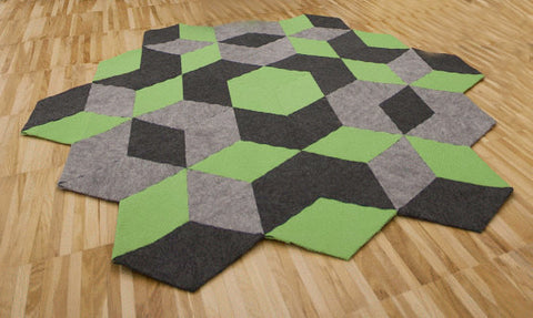 SUPERSONIC handmade modular rug carpet with recycled materials, by caraWonga by CaraWonga - Jewel and Lotus
