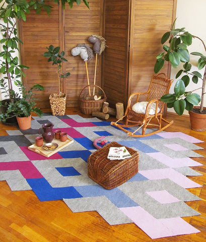PURPLE DIAMOND handmade modular rug carpet with recycled materials, by caraWonga by CaraWonga - Jewel and Lotus