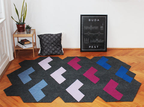 SPACE RACE handmade modular rug carpet with recycled materials, by caraWonga by CaraWonga - Jewel and Lotus