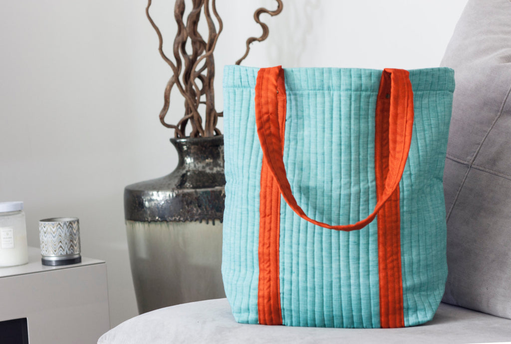 Aqua + Orange Tote by Made With a Purpose - Jewel and Lotus