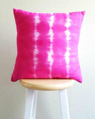 Hand dyed cushion, Shibori pillow, pink and white cushion, hand dyed pillow, shibori cushion, 18 x 18 inch pillow cover, pink cushion cover
