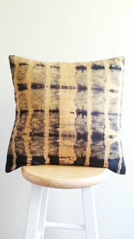 Hand dyed cushion, Shibori pillow, yellow and black cushion, hand dyed pillow, shibori cushion, 18 x 18 inch pillow cover,  yellow cushion