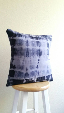 Hand dyed cushion, Shibori pillow, grey, black quilted cushion, hand dyed pillow, shibori cushion, 18 x 18 inch pillow cover, grey cushion