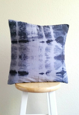 Hand dyed cushion, Shibori pillow, grey, black and white cushion, hand dyed pillow, shibori cushion, 18 x 18 inch pillow cover, grey cushion