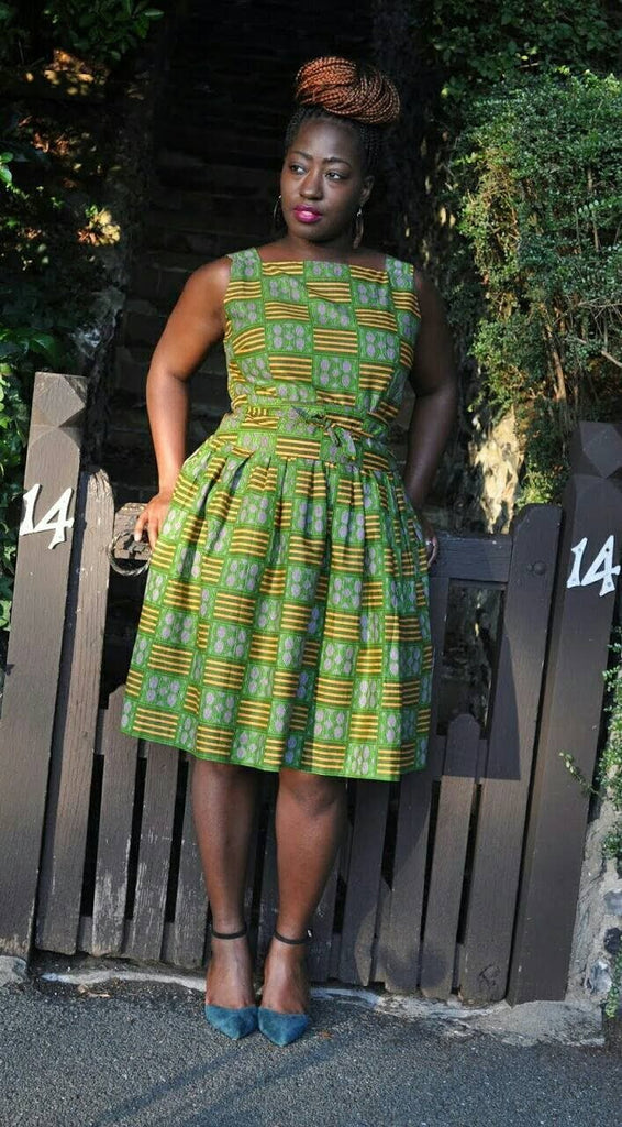 African print 50's style belted dress (UK16-18). by House of Afrika - Jewel and Lotus