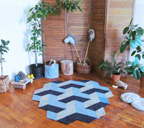 SPACE 3D   handmade modular rug carpet with recycled materials, by caraWonga by CaraWonga - Jewel and Lotus