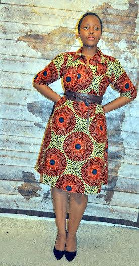 African Print Shirt Dress in Brown Hues by House of Afrika - Jewel and Lotus