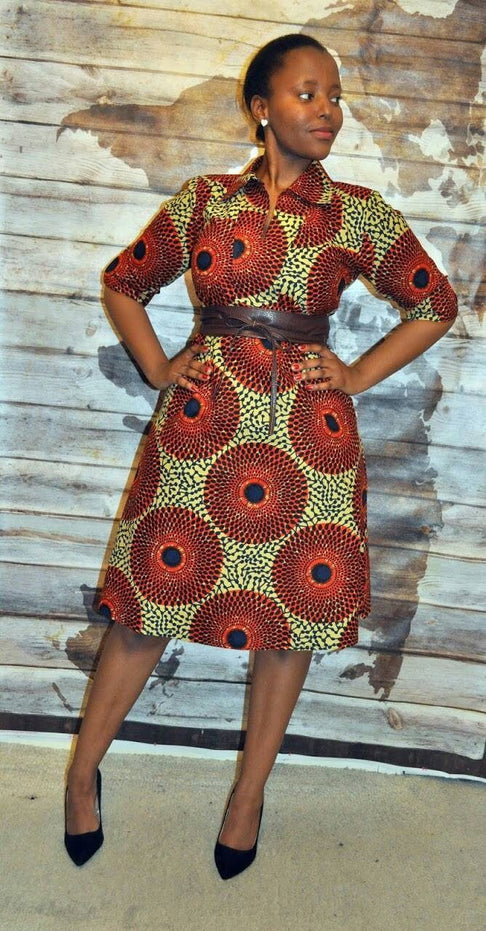 African Print Classic Shirt Dress by House of Afrika - Jewel and Lotus
