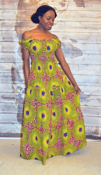 African Print Gypsy Maxi Dress in Lime Green And Blue Hues by House of Afrika - Jewel and Lotus