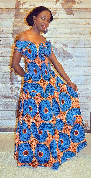 African Print Gypsy Maxi Dress in Blue And Orange Hues by House of Afrika - Jewel and Lotus