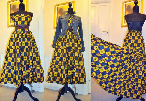 African Print Maxi Skirt/Midi Skirt Combo by House of Afrika - Jewel and Lotus