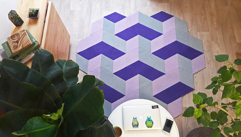 SPACE 3D PURPLE handmade modular rug carpet with recycled materials, by caraWonga by CaraWonga - Jewel and Lotus