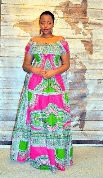 Afro Bohemian Gypsy Style Maxi Dress by House of Afrika - Jewel and Lotus