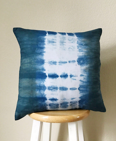 shibori pillow cover, tie dye pillow cover, pillow covers 18x18, indigo pillow cover, shibori throw pillow, boho home decor, farmhouse decor