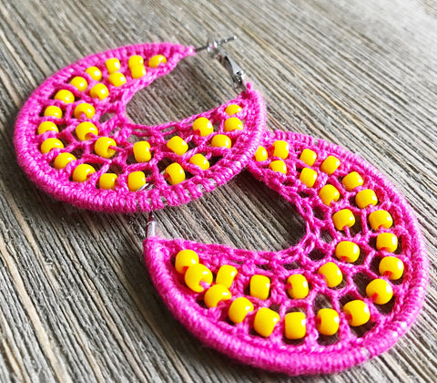 Hot pink beads earrings, pink hippie jewelry, pink woven hoop earrings, pink boho earrings, yellow bead earrings, pink yellow woven earrings